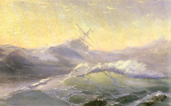 Storm Sturm Aivazovsky Ivan Konstantinovich Bracing The Waves 580x360 Storm in Art   Sturm in der Kunst Turner